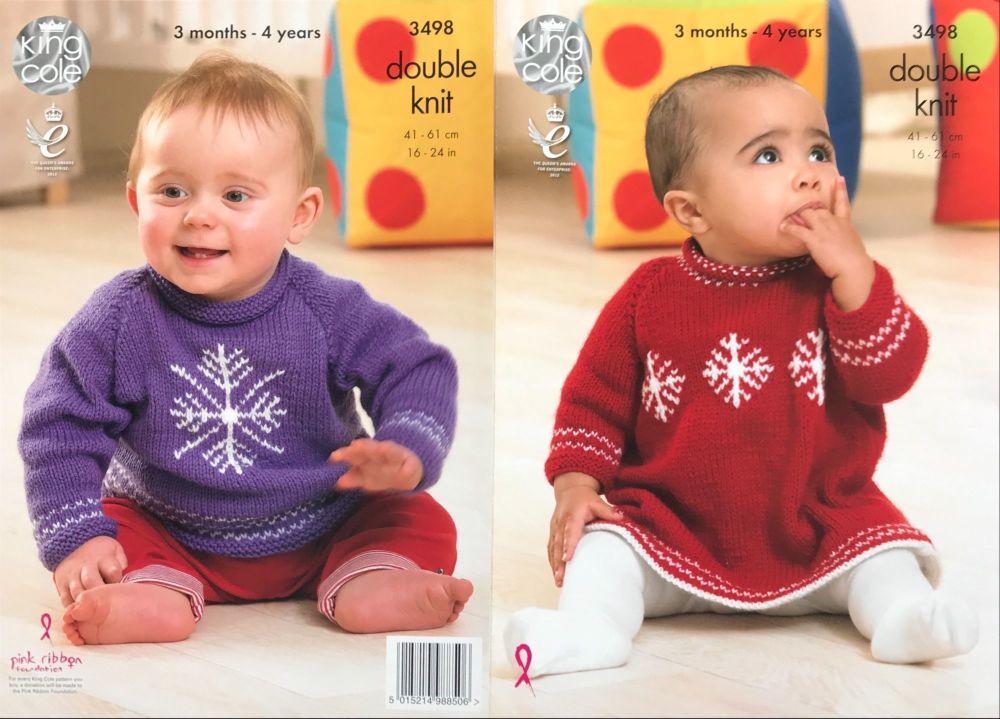 King Cole Crochet Pattern 3498 Sweater & Dress