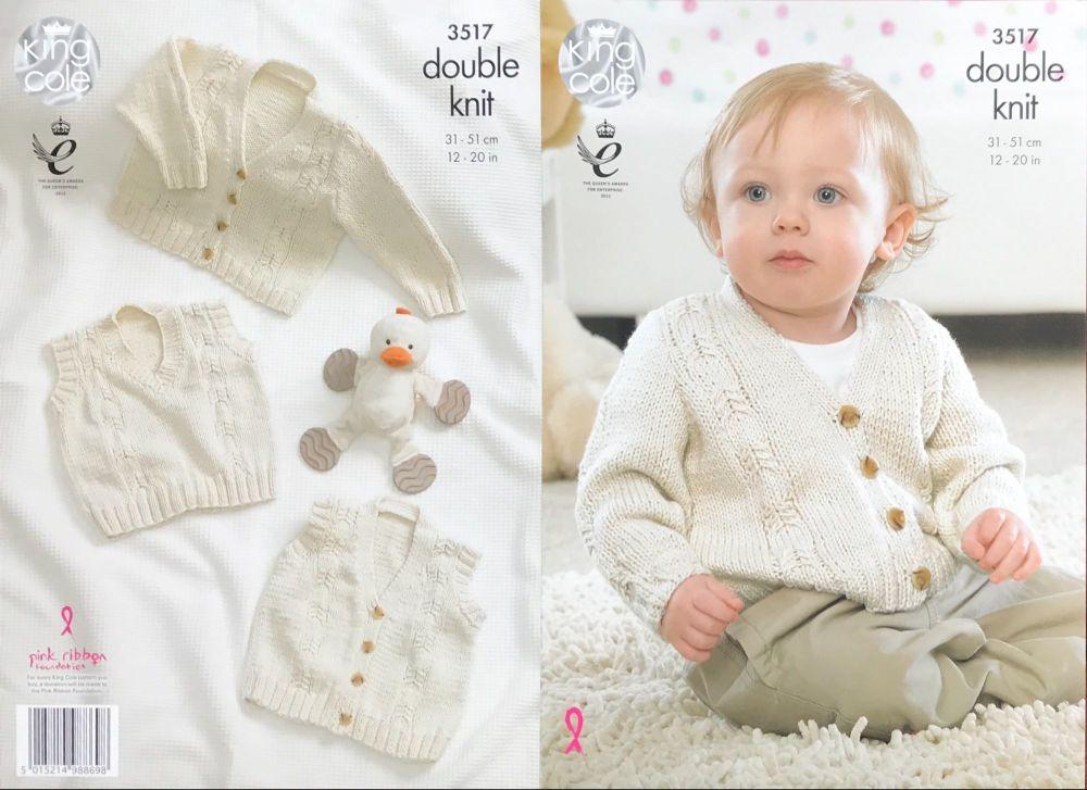 King Cole Crochet Pattern 3517 Cardigan, Waistcoat & Slipover