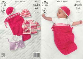 King Cole Knitting Pattern 3678 Snuggle Sack, Jacket Cardigan and Hat