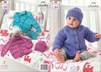 King Cole Knitting Pattern 3707 Jacket, Hat & Mittens
