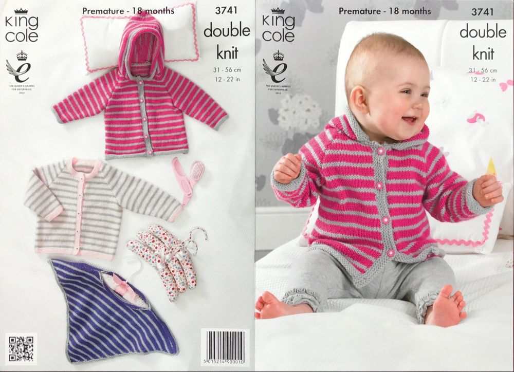 King Cole Pattern 3741 Poncho, Cardigan & Jacket with Hood