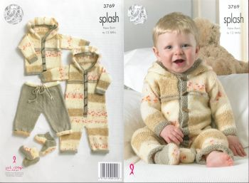 King Cole Knitting Pattern 3769 Baby Set incl Coat, Trousers, All in One & Socks