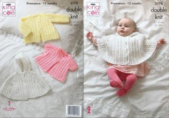 King Cole Knitting Pattern 3778 Cape & Jackets