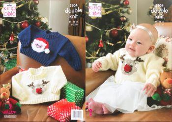 King Cole Knitting Pattern 3804 Christmas Sweaters
