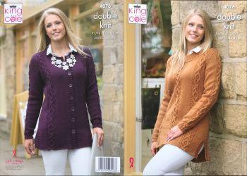 King Cole Knitting Pattern 4076 Sweater & Cardigan
