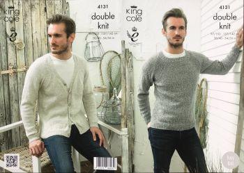 King Cole Knitting Pattern 4131 Sweaters & V Neck Cardigan