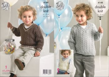 King Cole Knitting Pattern 4148 Slipover & Sweaters