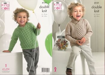 King Cole Knitting Pattern 4151 Sweaters