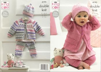 King Cole Knitting Pattern 4195 Coat, Hat & Leggings