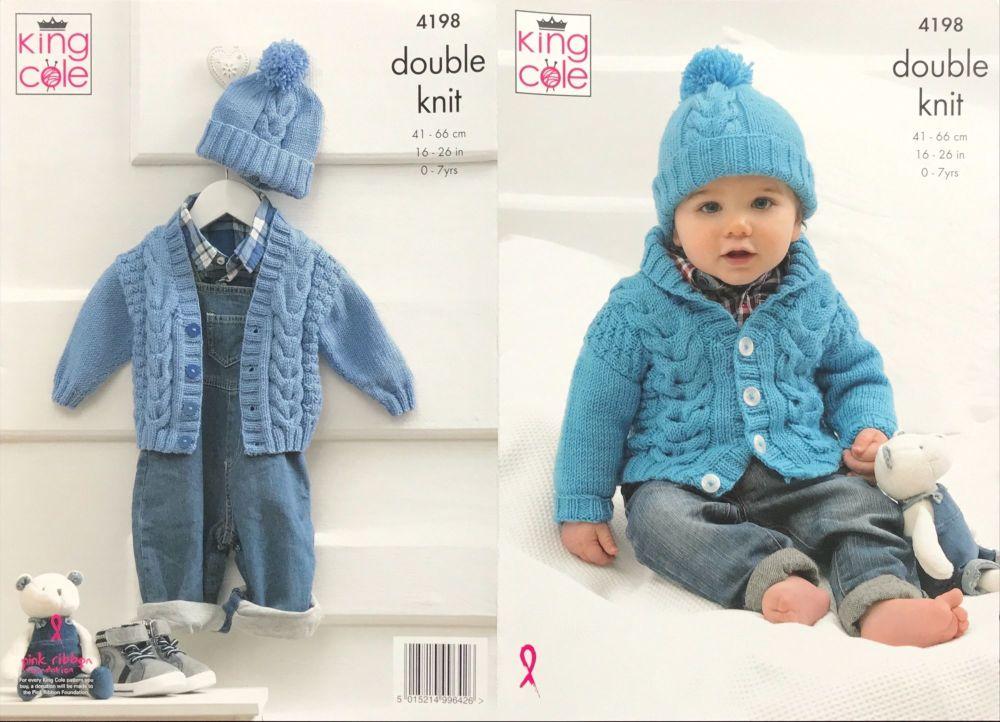 King Cole Pattern 4198 Cardigans & Hat