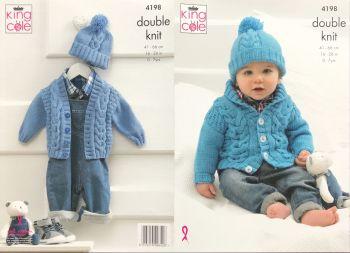 King Cole Knitting Pattern 4198 Cardigans & Hat