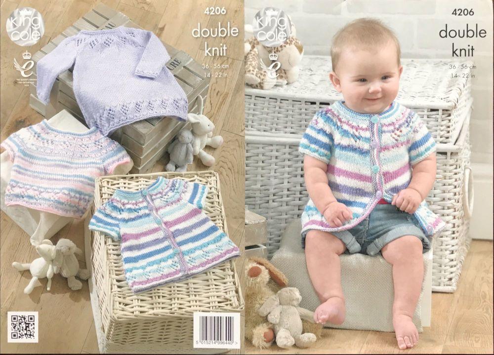 King Cole Pattern 4206 Baby Set, Cardigan, Top, Dress
