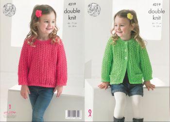 King Cole Knitting Pattern 4219 Lace Cardigan & Sweater