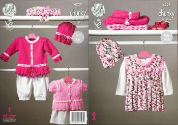 King Cole Knitting Pattern 4225 Dress, Cardigans & Hat