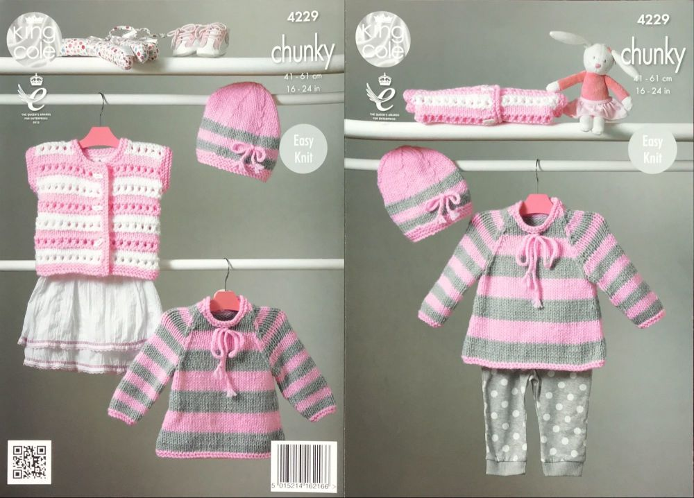 King Cole Pattern 4229 Cape Style Sweater, Hat & Cardigan