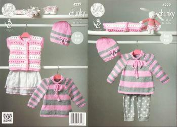 King Cole Knitting Pattern 4229 Cape Style Sweater, Hat & Cardigan