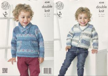 King Cole Knitting Pattern 4248 Sweater & Cardigan