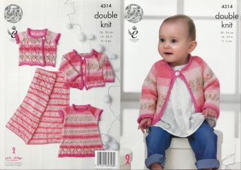 King Cole Pattern 4314 Baby Set Incl Dress, Cardigan & Waistcoat