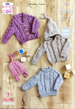 King Cole Knitting Pattern 4351 Sweater, Hooded Cardigan, V-Necked Cardigan & Hat