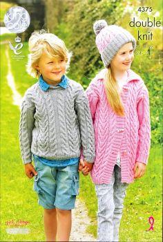 King Cole Knitting Pattern 4375 Sweater, Cardigan & Hat