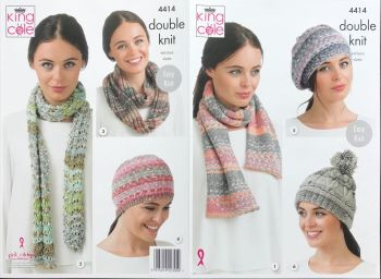 King Cole Knitting Pattern 4414 Hat, Scarves and Snood