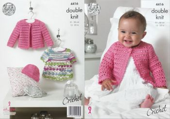 King Cole Crochet Pattern 4416 - Dress, Cardigan & Hat