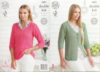King Cole Knitting Pattern 4485 Sweater & Cardigan