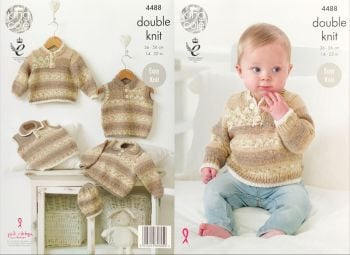 King Cole Knitting Pattern 4488 Sweaters, Slipover & Hat
