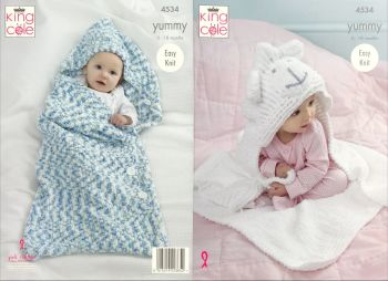 King Cole Knitting Pattern 4534 Cocoon & Blanket