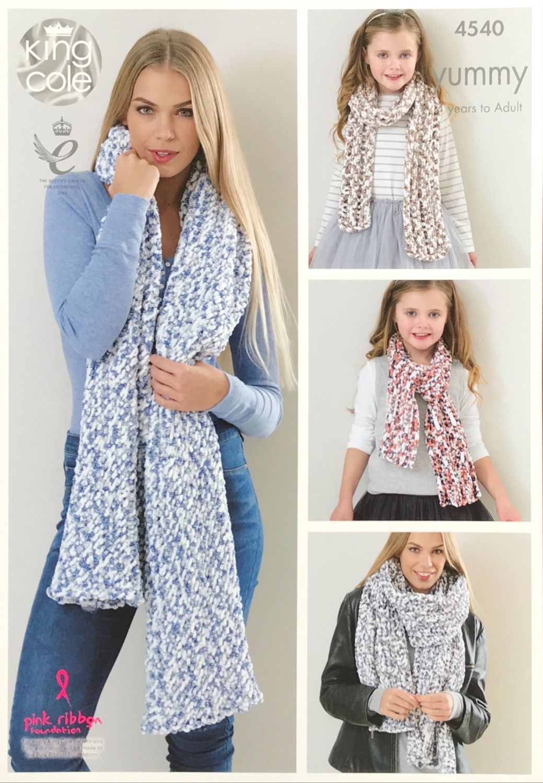 King Cole Pattern 4540 Ladies Shawls & Girls Scarves
