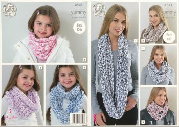 King Cole Knitting Pattern 4541 Snoods