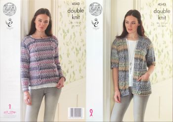 King Cole Knitting Pattern 4543 Sweater & Cardigan