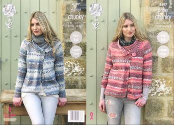 King Cole Knitting Pattern 4597 Ladies Jackets