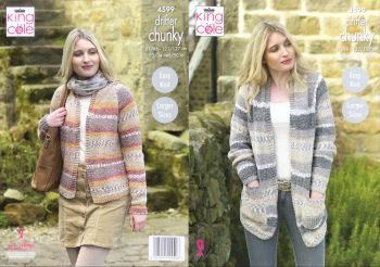 King Cole Knitting Pattern 4599 Ladies Cardigans