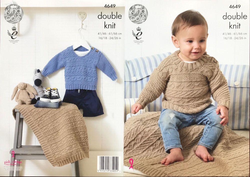 King Cole Pattern 4649 Sweaters & Blanket