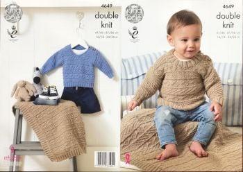 King Cole Knitting Pattern 4649 Sweaters & Blanket