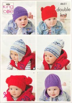 King Cole Knitting Pattern 4651 Childrens Hats