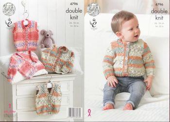King Cole Knitting Pattern 4796 Cardigans & Waistcoats