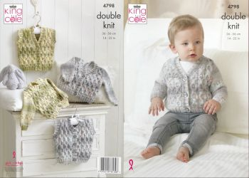 King Cole Knitting Pattern 4798 Cardigans & Waistcoats