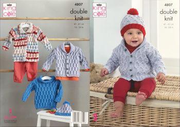 King Cole Knitting Pattern 4807 Jacket, Sweater, Coat & Hat