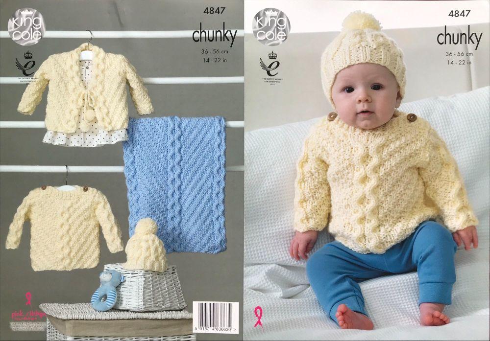 King Cole Pattern 4847 Sweater, Cardigan, Hat & Blanket