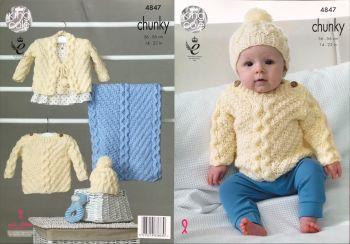 King Cole Knitting Pattern 4847 Sweater, Cardigan, Hat & Blanket