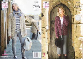 King Cole Knitting Pattern 4858 Ladies Jacket & Cardigan