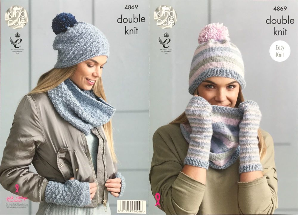 King Cole Pattern 4869 Snoods, Hats & Mitts