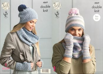King Cole Knitting Pattern 4869 Snoods, Hats & Mitts