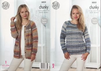 King Cole Knitting Pattern 5052 Cardigan & Sweater