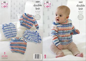 King Cole Knitting Pattern 5069 Sweaters & Slipovers