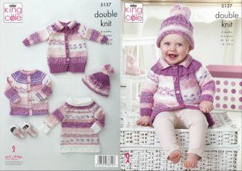 King Cole Knitting Pattern 5137 Cardigan, Coat, Tunic & Hat