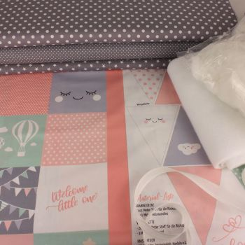 Welcome Little One Nursery Quilt Panel Kit in Coral Pink