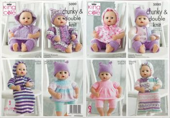 King Cole Knitting Pattern 5000 Dolls Cloths / Prem Baby up to 31cm chest)